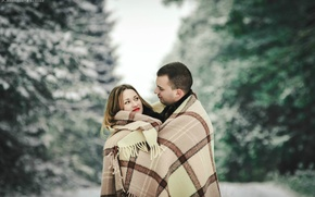 Picture winter, Love, pair, plaid, January