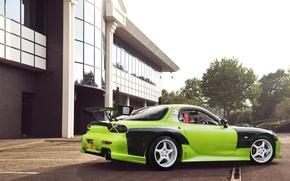 Picture green, tuning, Mazda, green, Mazda, RX7, Drift Car