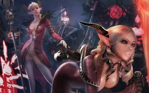 Picture flowers, girls, magic, latex, horns, skull, staff, demons, pointy ears, Tera online, Castanic