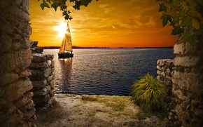 Picture the sky, sunset, lake, boat, yacht, window, the ruins, sail