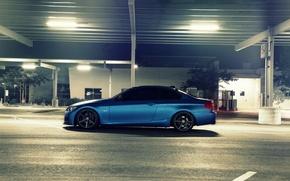 Picture blue, BMW, BMW, Matt, side, E92, Matte, The 3 series, 3 Series, Blue Metallic