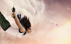 Picture clouds, flight, smile, Girl, piercing, missiles, middle finger