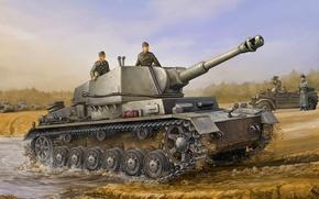 Picture war, art, painting, tank, ww2, german gun carriage Iv B Sd.car.165/1