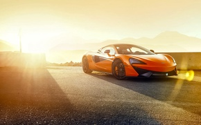 Picture McLaren, Orange, Race, Power, Front, Supercar, Track, 570S