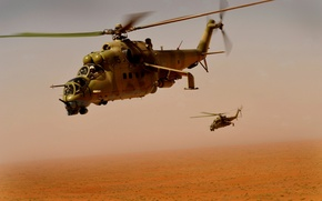 Picture flight, helicopter, Mi-35, shock