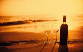 Picture sand, beach, wine, bottle, the evening, glasses, beach, sunset, romantic, sand