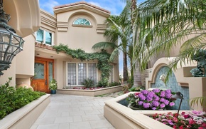 Picture flowers, house, style, Villa