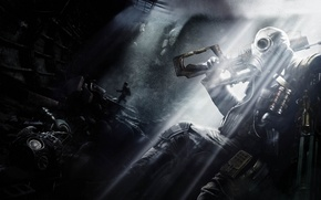Picture light, weapons, people, gas mask, subway, Metro: Last Light