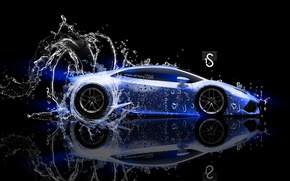 Picture Water, Black, Blue, Lamborghini, Neon, Style, Wallpaper, Background, Water, Car, Blue, Photoshop, Photoshop, Water, Neon, ...