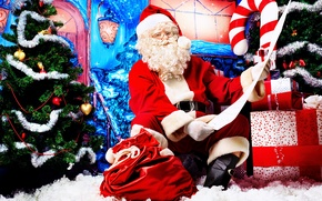 Picture look, the door, gifts, Santa Claus, list, Christmas decorations
