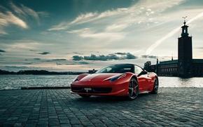 Picture river, Ferrari, promenade, ferrari 458 Italia