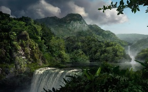 Wallpaper trees, mountains, Waterfall