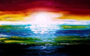 Picture sea, the sun, sunset, paint