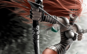Picture girl, hair, bow, arrow