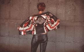 Picture girl, background, back, Harley-Davidson, leather jacket