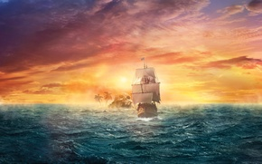 Picture sea, the sky, sunset, fiction, the ocean, ship, island, sailboat, fantasy, art, glow, haze, the ...