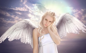 Picture sea, the sky, look, girl, clouds, fiction, wings, angel, blonde, green eyes
