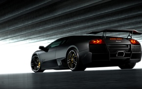 Picture black, Lamborghini, Matt, black, Lamborghini, Murcielago, LP670-4, Lamborghini, the rear part, murciélago