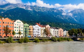 Picture mountains, river, building, home, Austria, the bridge, river, bridge, mountains, Austria