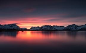 Wallpaper Norway, mountains, sunset, sea