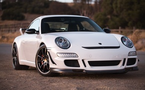 Wallpaper white, reflection, white, porsche, Porsche, gt3, roadside, the front, GT3