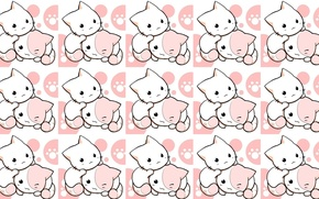 Picture background, texture, anime, art, kittens, children's