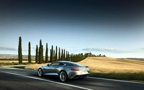 Picture field, speed, silver, Aston Martin