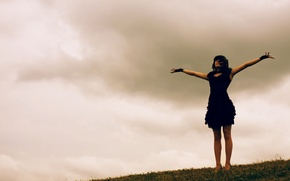 Picture the sky, grass, girl, dress, DariaDreary