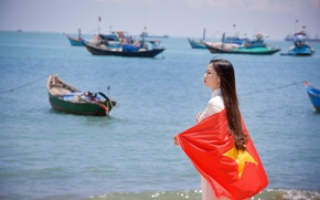 Picture sea, summer, girl, face, dress, flag, Vietnam