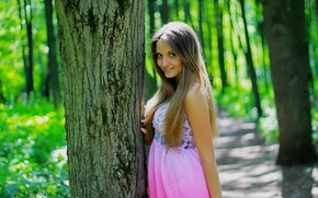Picture summer, the sun, nature, Girls, girl, summer, forest, nature, beauty