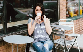 Picture coffee, brunette, cafe, sitting