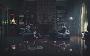 Picture reflection, room, violin, lamp, chair, Sherlock, martin freeman, benedict cumberbatch, Benedict cumberbatch, sherlock, Martin Freeman