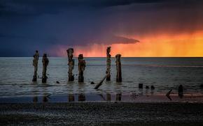 Picture storm, sunset, water, clouds, Utah, Great Salt Lake, Salt Lake City