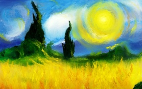 Wallpaper picture, art, Sunny day, starry night, Van Gogh, in explanation