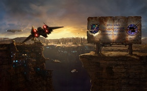 Picture spaceships, flight, canyon, shield, station, Shuttle