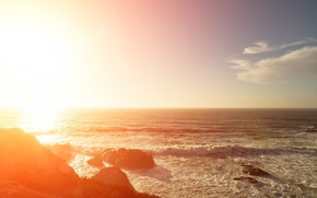 Picture sea, wave, the sun, light, stones
