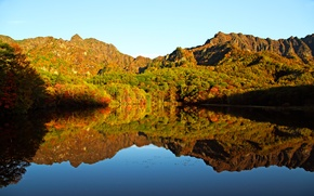 Picture mountains, lake, reflection, mirror, mountains, lake, reflection, mirror