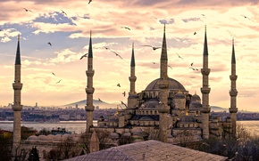 Wallpaper the city, panorama, Turkey, Istanbul, Sultanahmet mosque, turkey, Istanbul