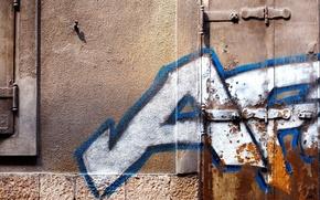Picture white, blue, pattern, window, door, paint spray, hinges, street art