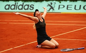 Picture sand, look, joy, victory, the ball, hands, red, blonde, racket, beauty, Peugeot, Maria Sharapova, Maria …