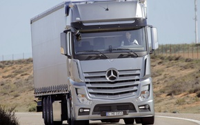 Picture Mercedes, Truck, Silver, 1851, On Road, Gigaspace, Travelling, Actros