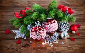 Picture New Year, Merry, decoration, Christmas, tree, Christmas, wood, balls, decoration, branches