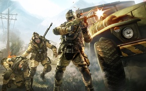 Picture weapons, war, battle, truck, soldiers, sniper, attack, shootout, Crytek, engineer, Warface