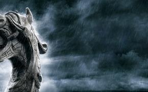 Picture language, rain, dragon, fangs, vikings, drakar