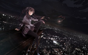 Wallpaper night, the city, lights, the wind, art, girl, tape, mahou shoujo madoka magica, homura akemi, ...