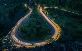 Picture road, forest, the evening, serpentine