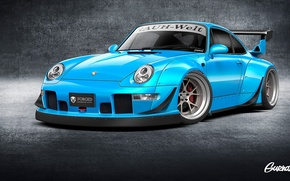 Picture Blue, Porsche, Porsche, Blue, Front, Before, 993, By Gurnade