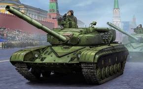 Picture weapon, war, art, painting, tank, T-64