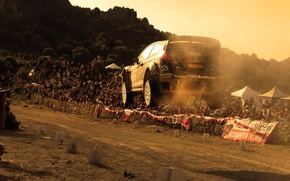 Picture sunset, jump, dust, ford, rally, wrc, the audience, fiesta, m-sport