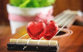 Picture heart, guitar, chocolate, love, vintage, heart, romantic
